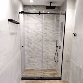 Multislide S Nero Glass Shower Enclosure